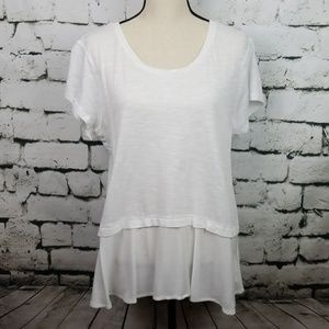 White Casual Knit Top w/ Sheer Extender Large